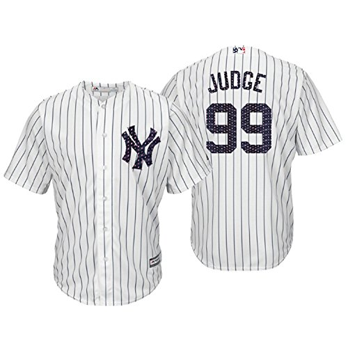 (Majestic Athletic Men's New York Yankees Aaron Judge 2018 Stars & Stripes Player Jersey – White XL)