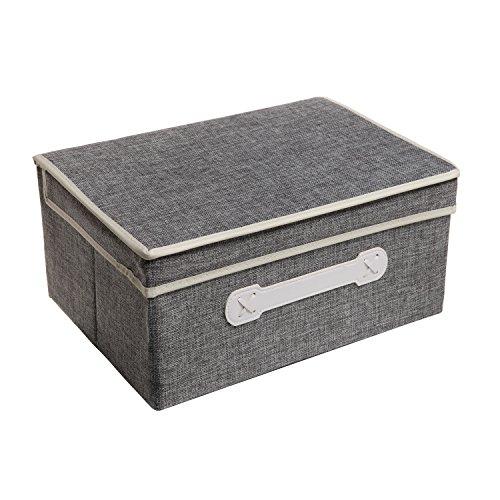 decorative gray woven collapsible fabric lidded shelf storage bin closet organizer box basket mygift