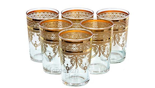 Moroccan Tea Glasses (Set of 6) (Gold)