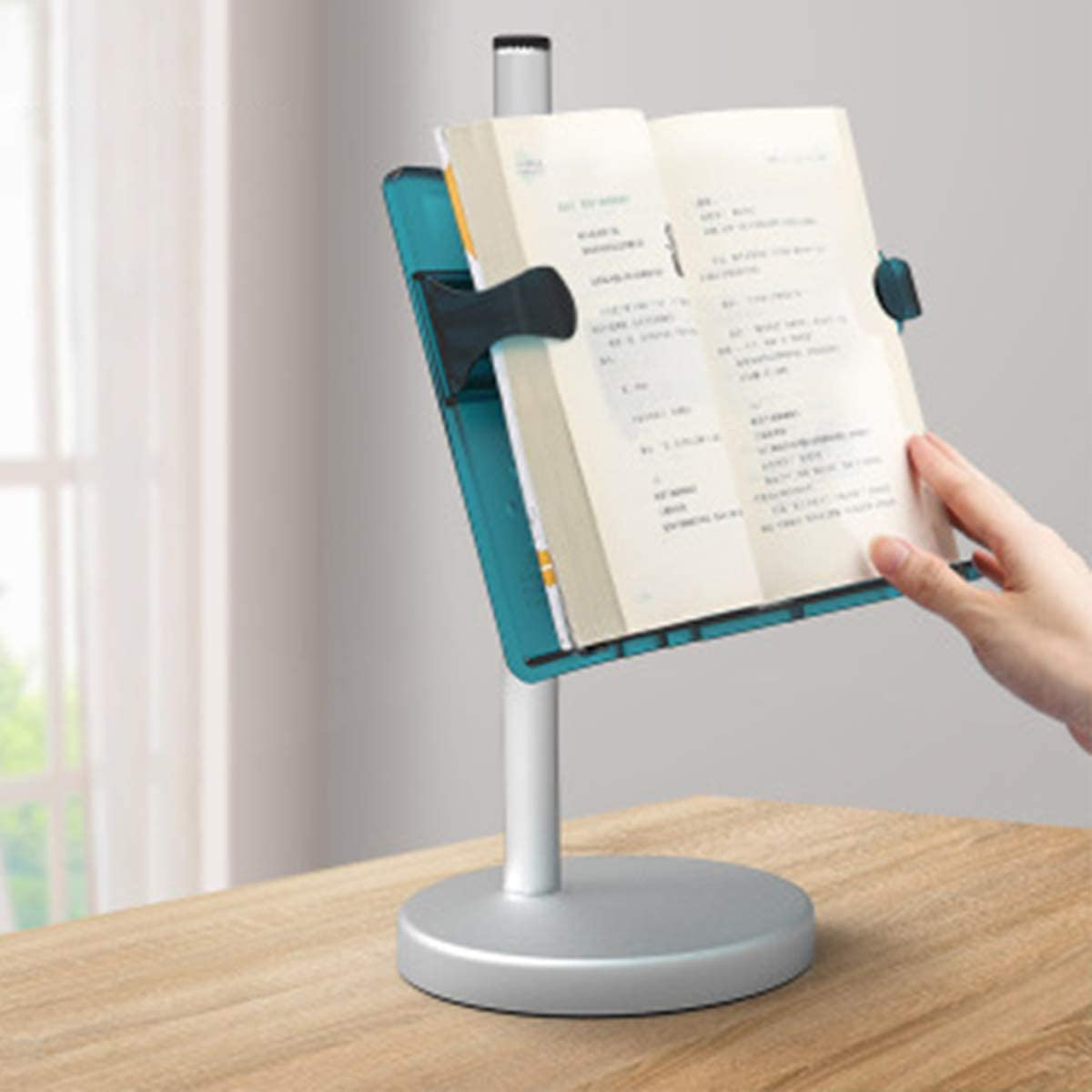 Magazines CookBooks Paperbacks Hands Free Book Stand Flexible Folding Document Holder Adjustable Reading Height and Angle for Hard Covers TextBooks