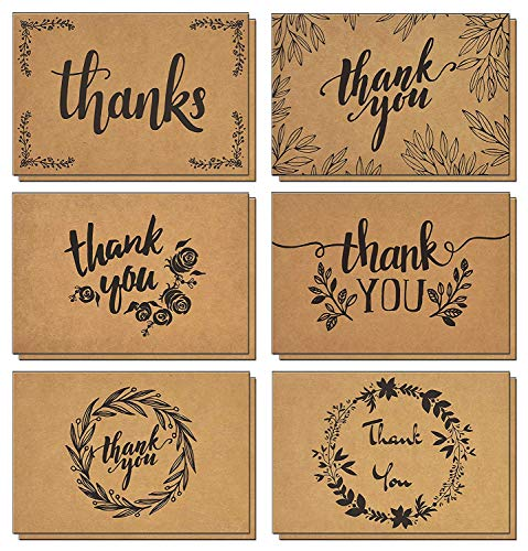 - 120 Thank You Cards with Brown Kraft Envelopes and Stickers - Elegant 6 Designs Kraft Paper Bulk Blank Notes for Wedding, Business, Formal, Baby Shower and All Occasions 4x6 Inch Blank on Inside/Back