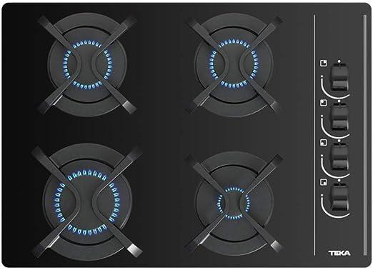 Teka | Placa Cristal Gas de 60 cm con mandos frontales ergonómicos | 4 x 60 x 43.5 cm