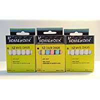 3 pack of chalk,12 per pack, anti-dust, non-toxic, 3 inches in length, 36 pieces of chalk total