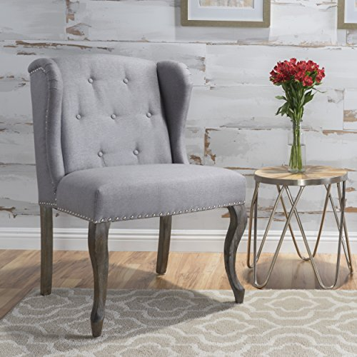 Christopher Knight Home 299858 Asheville Button Tufted Fabric Chair (Light Grey),