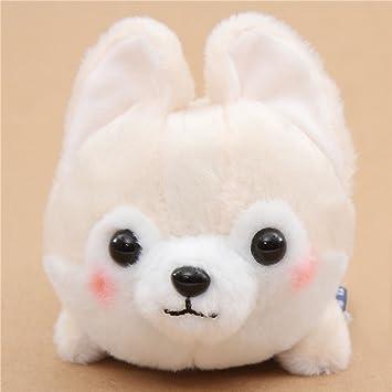 Peluche kawaii perro crema pañuelo rojo Mameshiba San Kyodai de Japón