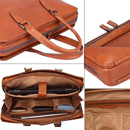 """Banuce Italian Leather Briefcase for Men and Women Business Travel Work Tote Bag Attach Case U-zip 14"""" Laptop Organizer by Banuce (Image #4)"""