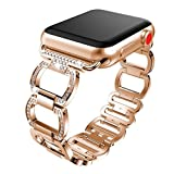 Becoler Stainless Steel Wristband Alloy Crystal Replacement for Apple Watch 1/2/3 38mm