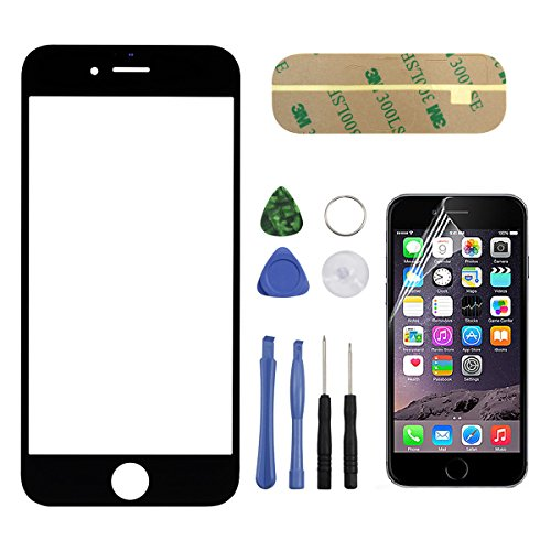 Toontor Replacement Front Screen Glass Lens Cover For iPhone 6 Plus 5.5'' With Tool Kit and Screen Protector Film(Black)