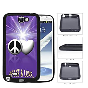Peace And Love Symbols With Purple Glare Rubber Silicone TPU Cell Phone Case Samsung Galaxy Note 2 II N7100