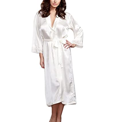 705a21f70d65 SUKEQ 2018 Hot Sale Women s Long Kimono Robe Lace Trim Stain Silk Lingerie  Sleepwear Nightgown Bathrobe