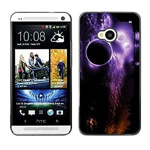 Be Good Phone Accessory // Dura Cáscara cubierta Protectora Caso Carcasa Funda de Protección para HTC One M7 // Space Planets Night Eclipse Purple