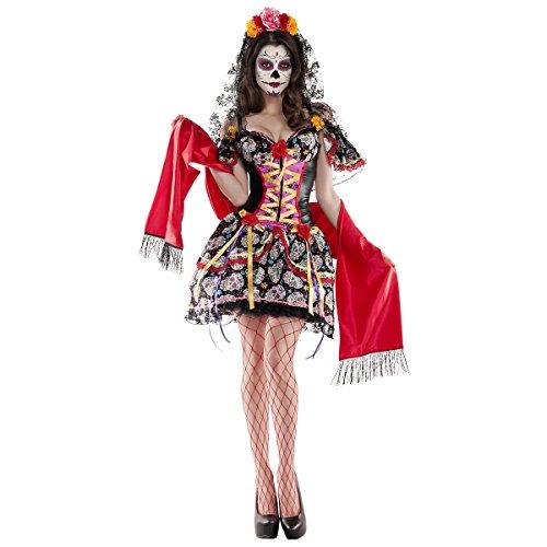 Party King Women's La Catrina Sexy Body Shaper 3 Piece Costume, Black/Red, Small ()
