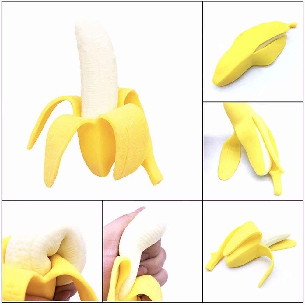 NEEVAS Novelty Funny Silicone Fruit Banana Stress Reliever Relief Fidget Autism Toy Gift