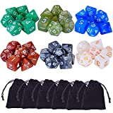 eBoot 42 Pieces (6 x 7) Polyhedral Dices Game Dices Assorted Colors for Dungeons and Dragons DND MTG RPG with 6 Pack Black Pouches, 6 Sets of d20, d12, 2 d10 (00-90 and 0-9), d8, d6 and d4 (Toy)