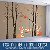 Wall Decals Fox Family Nursery Woodland 4 Trees