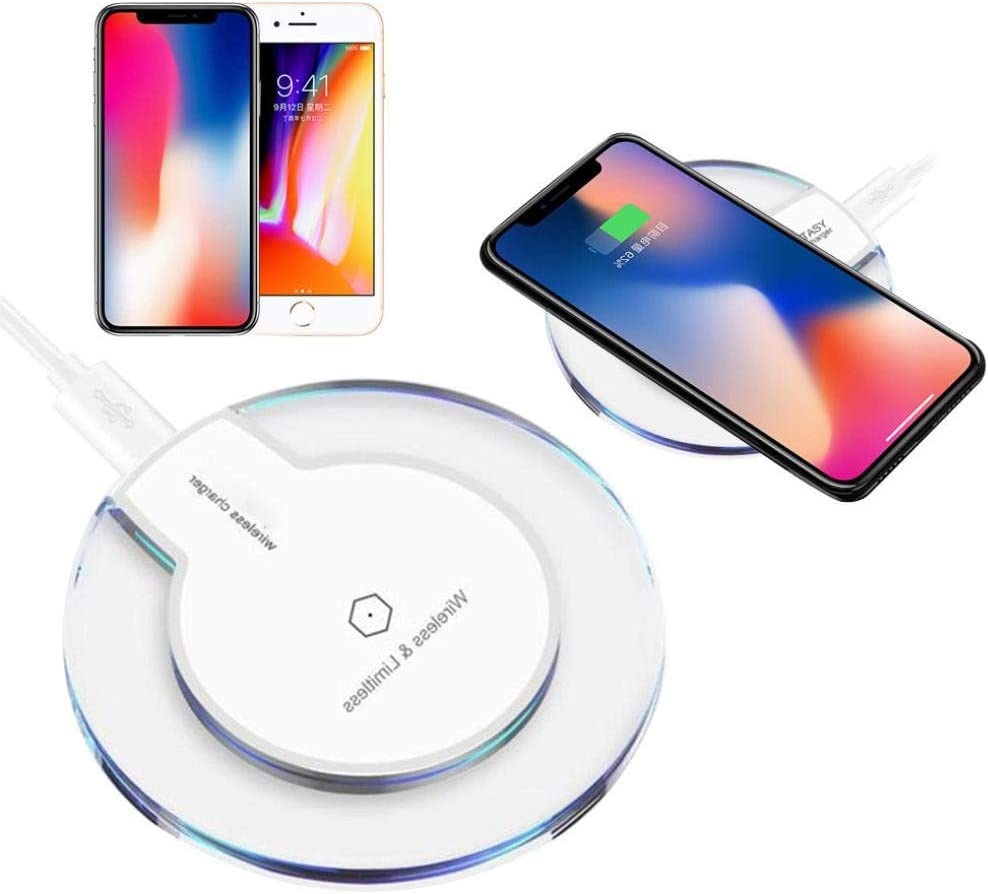EDTO Wireless Charger Ultra-Thin Clear Mini Qi Wireless Charger Charging Pad for iPhone Xs//XS Max//XRfor Samsung S9 for iPhone X//XS//XR for Samsung Galaxy S10 S10+