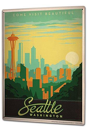 Tin Sign XXL Travel Kitchen Seattle Washington Skyline Space Needle by LEOTIE