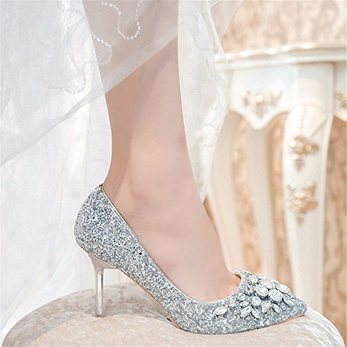 The New Banquet High Drilling Dress Autumn HXVU56546 Heel Crystal And Shoes Sequins Silver During Tip Spring Shoes Women'S Shoes Water Seasons Colored YTx775qn
