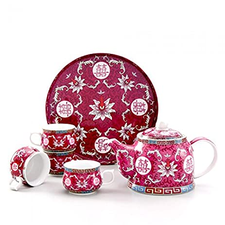 Double Happiness Purple Chinese Wedding Tea Set With Tray