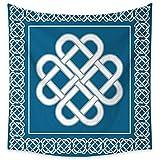 J Chief Sky Irish Bedroom Tapestry Celtic Love Knot Good Fortune Symbol Framework Border Historical Amulet Design Tapestry Throwing Blanket 32W x 32L InchDark Aqua White