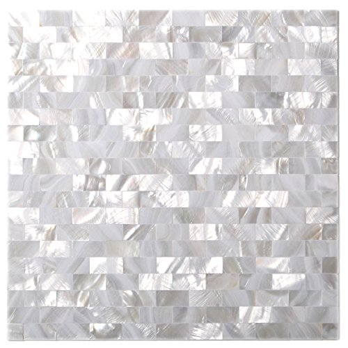 Natural Mother of Pearl Tiles White Subway Seamless 15 x 30 mm Chips-2mm Thick Mesh Mounted-Kitchen Backsplash Bath Wall Borders Art Mosaic Shell Tiles MOP02(11 Square Feet)