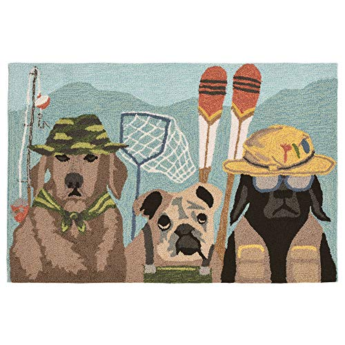 Liora Manne FT123A75344 Folly Canine Anglers Rug, Indoor/Outdoor, Multicolor
