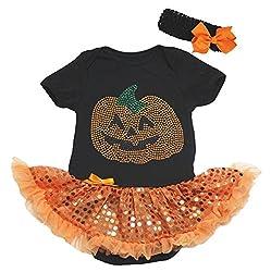 HALLOWEEN DRESS Rhinestone Pumpkin Black Jumpsuit Orange Sequin Tutu Baby Nb-18m (3-6month)