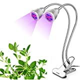 2017 Upgrade LED Plant Grow Light Lamp lebefe 14W Dual Head growing Bulbs Spring Clamp 360 Degree Gooseneck Flexible for Indoor Plants Hydroponics Greenhouse Gardening Office