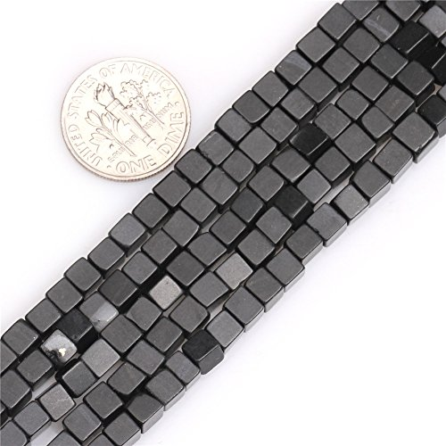 GEM-inside Black Agate Gemstone Loose Beads 4mm Square Cube Natural Crystal Energy Stone Power Beads for Jewelry Making -