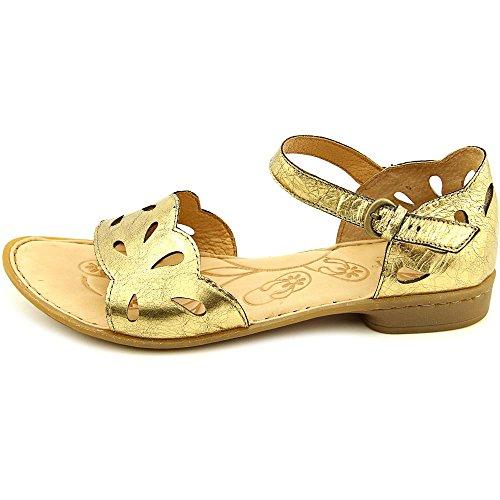 Sandali Con Cinturino Alla Caviglia Casual A Punta Aperta In Pelle Janya, Oro Antico