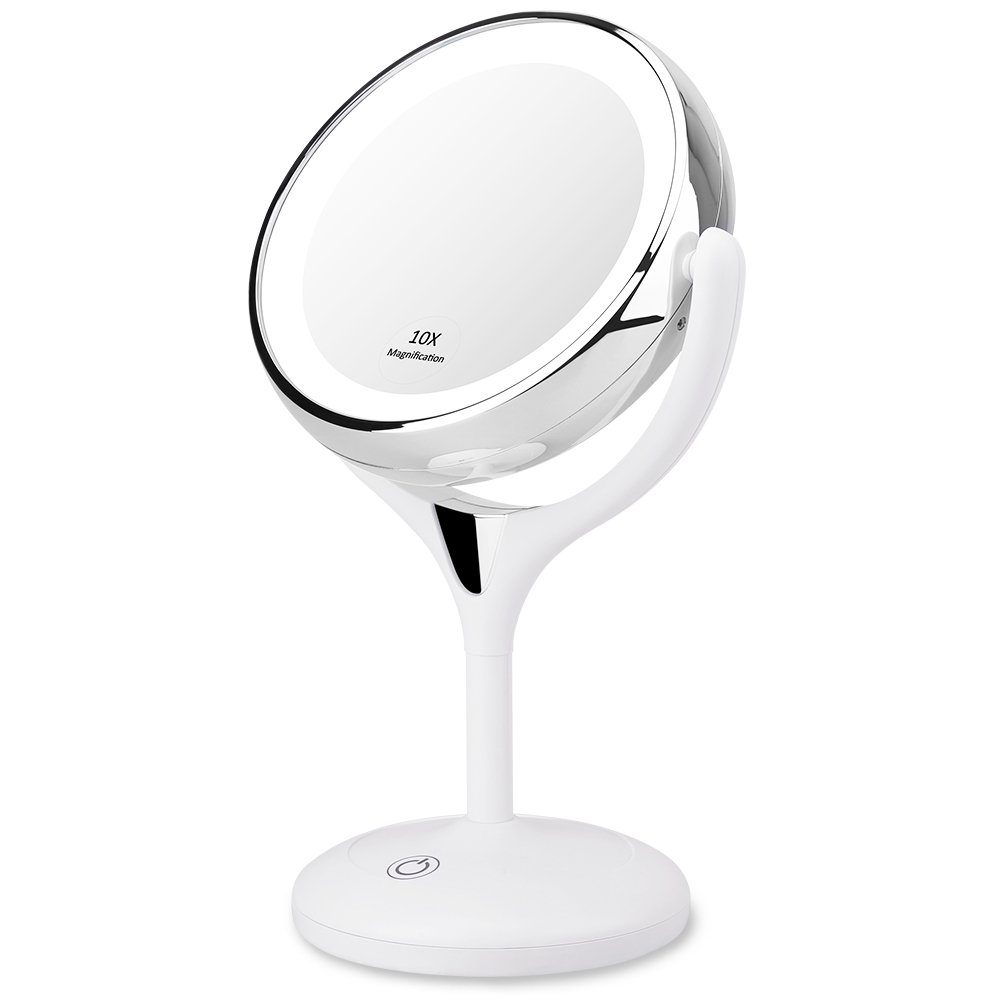 KEDSUM 1X/10X Double Sided Lighted Makeup Mirror, 360 Degree Swivel Tabletop Vanity Mirror,Cosmetic Regular/Magnifying Mirror with Lights, Dimmable Touch Button,Dual Power Supply