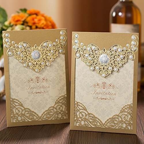 PONATIA 25PCS Laser Cut Invitations Cards Luxury Diamond Gloss Design Wedding Bridal Shower Invitation Baby Shower Engagement Birthday Invitation Graduation (Dark Gold)