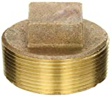 Anderson Metals 38109 Red Brass Pipe Fitting, Cored Plug, 2'' Male Pipe