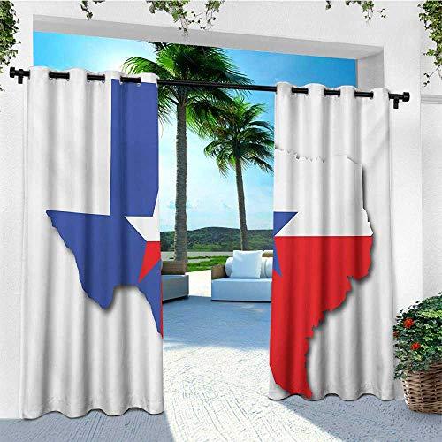 (leinuoyi Texas Star, Outdoor Curtain Panel Design, Outline of The Texas Map American Southwest Austin Houston City, Fashions Drape W108 x L96 Inch Vermilion White Violet Blue)
