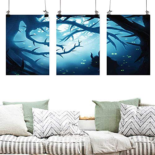 Wall Painting Prints Mystic Decor Animal with Burning Eyes in Dark Forest at Night Horror Halloween Illustration Contemporary Abstract Art 3 Panels 16x31inchx3pcs Navy White -