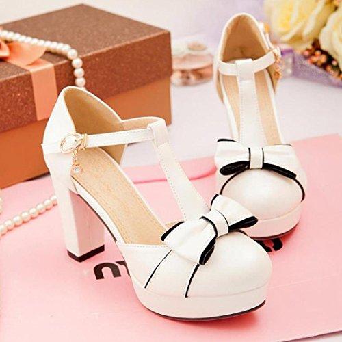 Chunky strap VECJUNIA White Bowknot Shoes Heel Ladies T Elegant Sandals xwUqPTvw6
