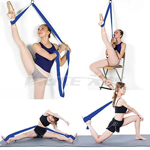 Adjustable Leg Stretcher Lengthen Ballet Stretch Band - Easy Install on Door Flexibility Stretching Leg Strap Great Cheer Dance Gymnastics Trainer stretching equipment taekwondo Training (blue)