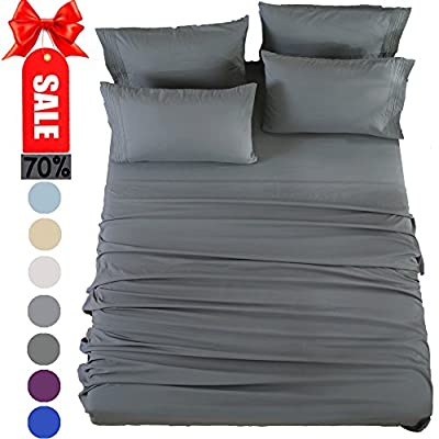 SONORO KATE Bed Sheets Set Sheets Microfiber Super Soft 1800 Thread Count Egyptian Sheets 16-Inch Deep Pocket Wrinkle Fade and Hypoallergenic - 6 Piece