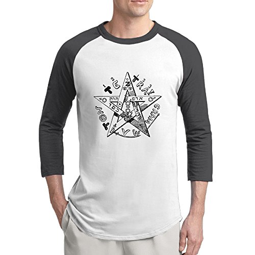 Men's Baphomet Eliphas Levi Funny Cool Cute 3/4 Sleeve Half Sleeve Baseball T-Shirt (Hoover Jovis compare prices)