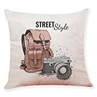 Clearance!Todaies ?Home Decor Cushion Cover Printed Camera Landscape Throw Pillowcase Pillow Covers Bed Car Sofa