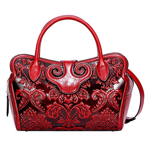 PIJUSHI Designer Floral Handbags For Women Leather Top Handle Crossbody Bags