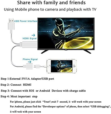 3 Feet Metal 3 in 1 Smartphone to HDMI//Micro USB//TYPE C Adapter for iPhone//iPad//S9//S8//Note 8 and More iPhone HDMI Cables Adapter Lightning to HDMI 1080P Digital AV Adapter S7 HDMI Cable to TV