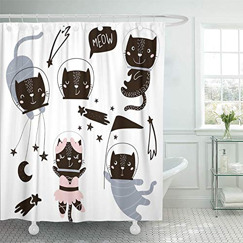 Circus Clipart - Emvency Shower Curtain Waterproof Adjustable Polyester Fabric Animal Circus Cats Astronauts Clipart Cute Cartoon Characters Giraffe Baby Baby 72 x 72 Inches Set With Hooks For Bathroom