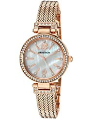 Armitron Womens 75/5386MPRG Swarovski Crystal Accented Rose Gold-Tone Mesh Bracelet Watch