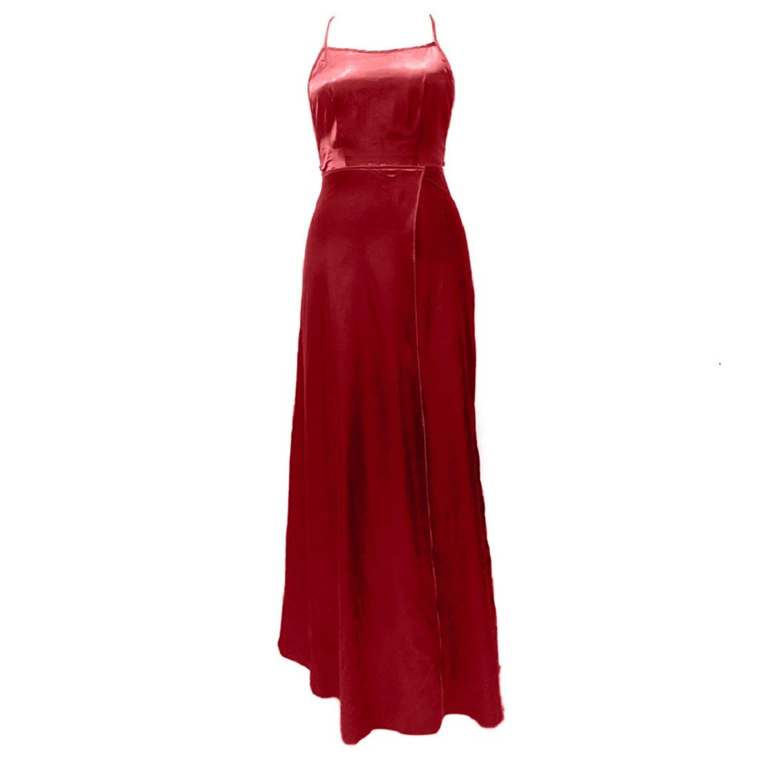aihihe Women Short Sleeve Loose Plain Casual Long Maxi Dresses with Pockets Red