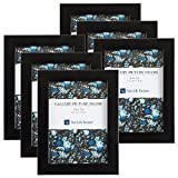 black 5x7 picture frames - Picture Frame Set, 5x7 Frames Pack For Picture Gallery Wall With Stand and Hanging Hooks, Set of 6 By Lavish Home (Black)