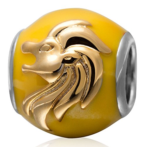 Zodiac Sign Enamel Beads Authentic 925 Sterling Silver Charms for Pandora Charms Bracelet (Leo)