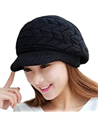 Womens Winter Warm Knitted Hats Slouchy Wool Beanie Hat Cap with Visor