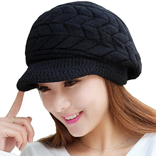 Loritta Womens Winter Warm Knitted Hats Slouchy Wool Beanie Hat Cap With (Womens Visor Knit Hat)
