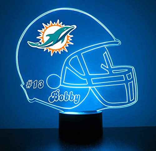 Dolphins Jersey Miami Custom - Mirror Magic Store Miami Dolphins Football Helmet LED Night Light with Free Personalization - Night Lamp - Table Lamp - Featuring Licensed Decal
